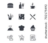 food  drink icons. coffee and... | Shutterstock .eps vector #702175492