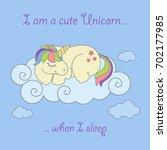 magic cute unicorn  stars on... | Shutterstock .eps vector #702177985