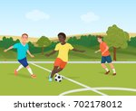 the people playing football in... | Shutterstock .eps vector #702178012