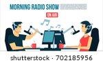 radio dj s male   female life... | Shutterstock .eps vector #702185956