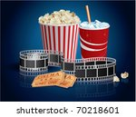 popcorn  drink and filmstrip | Shutterstock .eps vector #70218601