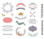 romantic vintage elements... | Shutterstock .eps vector #702202366