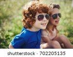 cute stylish children in summer ... | Shutterstock . vector #702205135