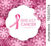 pink ribbon sign and breast... | Shutterstock .eps vector #702205276