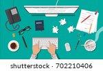 writer or journalist workplace. ... | Shutterstock .eps vector #702210406