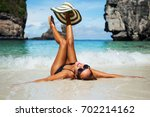 summer lifestyle portrait of... | Shutterstock . vector #702214162