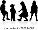 vector silhouette of children...   Shutterstock .eps vector #702214882