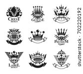 imperial crowns emblems set.... | Shutterstock . vector #702220192