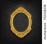 gold oval vintage picture frame ... | Shutterstock .eps vector #702228238