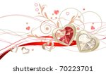 two gold hearts  with gems and... | Shutterstock .eps vector #70223701