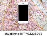 overhead view of traveler's... | Shutterstock . vector #702238096