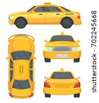different views of taxi yellow... | Shutterstock .eps vector #702245668