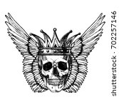 a skull with a crown and wings. ... | Shutterstock .eps vector #702257146