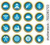 timber industry icons blue... | Shutterstock .eps vector #702281722