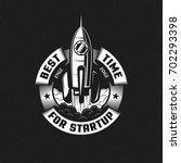 startup rocket round logo on... | Shutterstock .eps vector #702293398