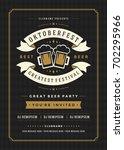 oktoberfest beer festival... | Shutterstock .eps vector #702295966