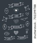 set of hand drawn ribbon... | Shutterstock .eps vector #702299788