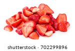 sliced strawberries isolated on ... | Shutterstock . vector #702299896