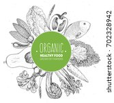 healthy organic food vector... | Shutterstock .eps vector #702328942