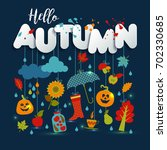 autumn illustration with flat... | Shutterstock .eps vector #702330685