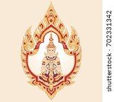ethnic golden floral frame with ... | Shutterstock .eps vector #702331342