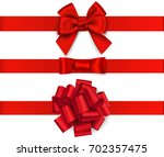 decorative red bow with... | Shutterstock .eps vector #702357475