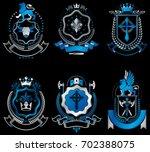 vintage heraldic coat of arms... | Shutterstock . vector #702388075