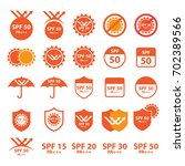 uv   spf protection icons | Shutterstock .eps vector #702389566