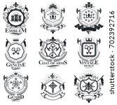 heraldic signs  elements ... | Shutterstock . vector #702392716