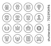 set round line icons of award   Shutterstock .eps vector #702393496