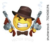 vector gangster smiley with a... | Shutterstock .eps vector #702408196