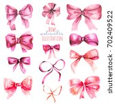 set of watercolor pink bows ... | Shutterstock . vector #702409522