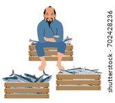 old asian fisherman sells fish... | Shutterstock .eps vector #702428236