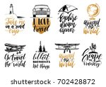 vector set of hand lettering... | Shutterstock .eps vector #702428872