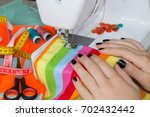 processes of sewing on the... | Shutterstock . vector #702432442