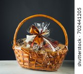 gift basket on gray background | Shutterstock . vector #702441205