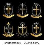 christian crosses emblems set.... | Shutterstock . vector #702465592