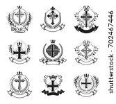 crosses religious emblems set.