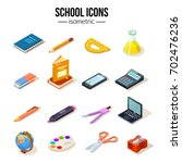 isometric school education set... | Shutterstock .eps vector #702476236