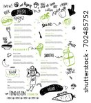 vegan menu with hipster chef ... | Shutterstock .eps vector #702485752