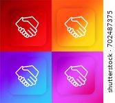 shake hands four color gradient ...