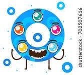 geometric monster  blue ring ... | Shutterstock .eps vector #702507616