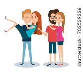 two couples of young people... | Shutterstock .eps vector #702529336