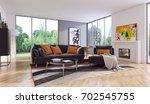 modern bright interiors. 3d... | Shutterstock . vector #702545755