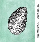 oyster shell. ink sketch on old ... | Shutterstock .eps vector #702550816
