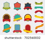set of vector badge with ribbon ... | Shutterstock .eps vector #702560032