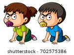 two angry toddlers with... | Shutterstock .eps vector #702575386