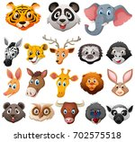 Stock vector different faces of wild animals illustration 702575518