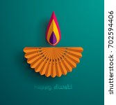 happy diwali. paper graphic of... | Shutterstock .eps vector #702594406