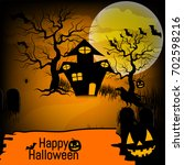 halloween background with... | Shutterstock .eps vector #702598216